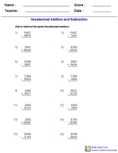 Adding and Subtracting Hexadecimal Worksheets