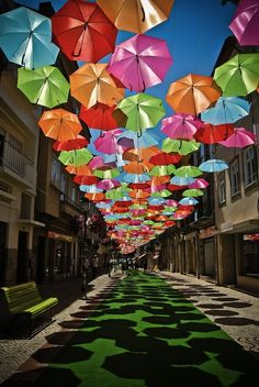 Floating Umbrellas Line The Streets of Agueda Portugal