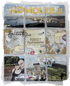 "Pretty travel scrapbook page ""Honolulu"" but not with a divided page. But still, nice scrapbook inspo."