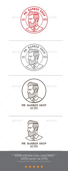Mr Barber Shop Logo Mascot Template Vector EPS, AI. Download here: http://graphicriver.net/item/mr-barber-shop-logo-mascot/11845530?ref=ksioks