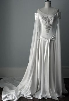 White medieval wedding gown.