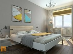 23 Modern Bedroom Ideas - Grey + blue & lime/yellow. Love the modern feel.