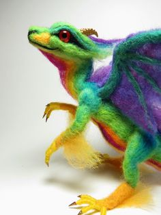 Felted BABY RAINBOW DRAGON by Kate Turner by FrivolousForest