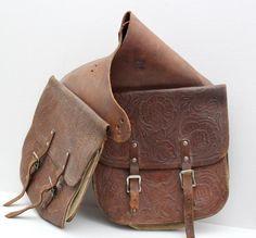 vintage leather saddlebags // motorycycle  bicycle by RedTuTuRetro, $95.00