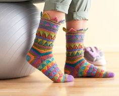 DIY Rainbow Color Patch Knitted Socks 4