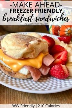Mornings just got easier when you learn how to make these Make Ahead Freezer Friendly Breakfast Sandwiches! English Muffins loaded with eggs and cheese and topped with your favorite breakfast meat of choice. You now have a quick, grab and go breakfast that's so much more healthy than the drive-thru! #makeahead #freezerfriendly #breakfastsandwich #ww Breakfast Meat, Weight Watchers Breakfast, Grab And Go Breakfast, Breakfast Sandwiches, Weight Watchers Meals, Breakfast Recipes, Breakfast Slider, Ww Recipes, Cooking Recipes