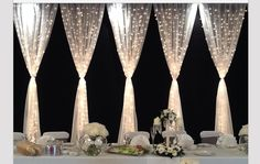 Pretty backdrop for the wedding party table. Tulle and twinkle lights make beautiful wedding decor. this back drop used at an outdoor night wedding reception would be beautiful Perfect Wedding, Our Wedding, Dream Wedding, Trendy Wedding, Indoor Wedding, Garden Wedding, Glamorous Wedding, Party Wedding, Gothic Wedding