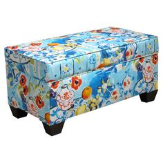 Storage ottoman with Matisse-inspired upholstery and pine wood frame. Handmade in the USA.Product: BenchConstruction ...