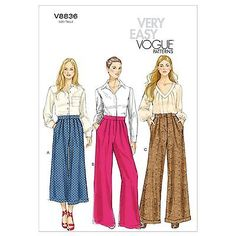 Very Easy Vogue 8836 Wide Leg Pants Culottes Trousers Sewing Pattern V8836 3in1