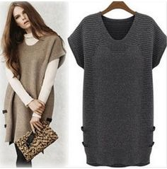 Loose Fit Knitted Short Dress Pullover