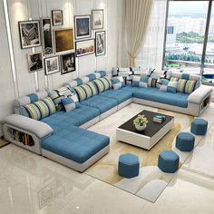 living room furniture modern U shaped fabric corner sectional sofa set design couches for living room with ottoman Buy Living Room Furniture, Living Room Sofa Design, Living Room Modern, Sofa Furniture, Living Room Interior, Living Room Designs, Furniture Design, Design Room, Living Rooms