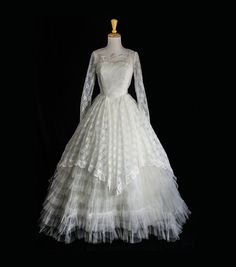 Vintage 1950s Wedding Dress Cupcake Dream White by madvintage