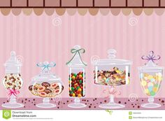 Candy Jars With Chocolates Candies And Dragees Vector Illustration cakepins.com