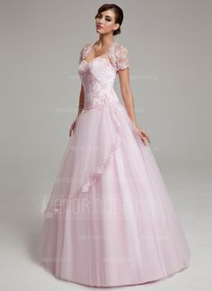 Ball-Gown Sweetheart Floor-Length Satin Tulle Quinceanera Dress With Ruffle  Lace Beading d8b8cdccb8578