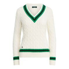 The signature Lauren Ralph Lauren cricket sweater is updated for the season with contrast striped trim for a bold look. Preppy Trends, Ralph Lauren Jumper, Cotton Sweater, Women Brands, Sweater Outfits, Long Sleeve Sweater, Lounge Wear, Sweaters For Women, Style Inspiration