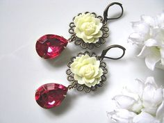 Ivory Cabbage Rose Flower With Vintage Faceted Pink Teardrops Glass Jewels Earrings