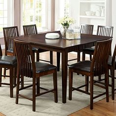 Montego Transitional Style Walnut Finish 9Piece Counter Height Table Set -- Click on the image for additional details.Note:It is affiliate link to Amazon. #family