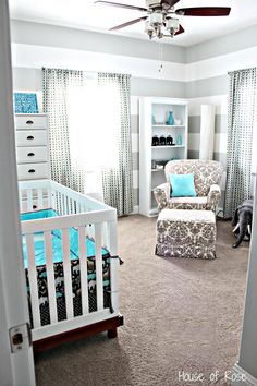 grey and white with a pop of blue nursery