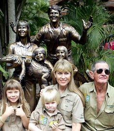 Bindi, Robert and Terri Irwin with Steve's dad, Bob Irwin senior spotting at Australia Zoo, Queensland, Australia.   v@e.
