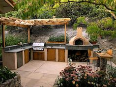 built in BBQ and pizza oven Outdoor Entertaining, Outdoor Cooking, Outdoor Spaces, Outdoor Living, Outdoor Decor, Outdoor Kitchen Countertops, Concrete Countertops, Pizza Oven Outdoor, Built In Bbq