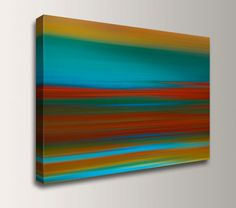 """Abstract Painting - Teal and Red Canvas Print - Contemporary Fine Art Reproduction - Modern Wall Decor - """" Sunset Strip """" on Etsy, $79.00"""