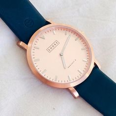 Navy Blue Leather Band with Rose Gold