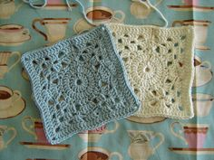 "Lacey Blues throw, 11"" square, free pattern from Lion Brand Yarn. Pic from Ravelry Project Gallery by SugarCube  . . . . ღTrish W ~ http://www.pinterest.com/trishw/  . . . .  #crochet #motif #square"