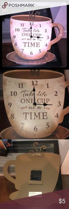 Take Life One Cup At A Time Coffee Cup Clock Decor - Medium density fiberboard - Coffee cup design - Clock - Battery operated needs a battery - Kitchen decor - Contains composition wood - Nail hanger on back Youngs Inc Wall Art Clocks Coffee Cup Design, Wood Nails, Pumpkin Pillows, Clock Decor, Baskets On Wall, Designer Pillow, Battery Operated, Coffee Cups, Tableware