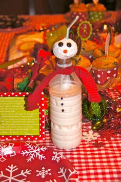 snowman milk bottles