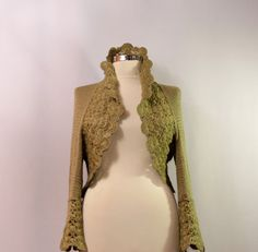 You Make My Day / Shrug Bolero Army Green Sweater by lilithist, $189.00
