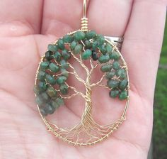Sale Emerald Tree of Life 14k Gold Filled May by HomeBabyCrafts