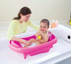Amazon.com : The First Years Sure Comfort Deluxe Newborn To Toddler Tub Pink : Baby Bathing Seats And Tubs : Baby