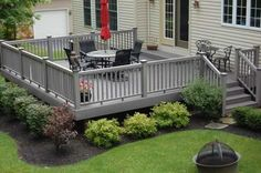 backyard landscaping with firepit off deck - Google Search