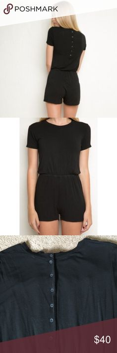 RARE Brandy Melville Bianca Romper Super cute & rare bianca romper from brandy melville! Plain with a button-up back, worn once! It is stretchy and super flattering. Make offers! Open to trading Brandy Melville Other