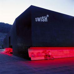 sWISH* pavillon, Biel, Exhibition pavillon for the by Gramazio Kohler. Halle, Commercial, Facade Architecture, Experiential, Brutalist, Night Club, Pop Up, Concept Art, Exterior