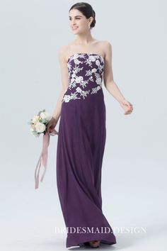 This A-line floor-length grape purple bridesmaid dress features a simple strapless straight neckline and special design of the lace appliques. Asymmetrical floral lace appliques on the bodice in white color add girly smell and a cute look! Dark Purple Bridesmaid Dresses, Affordable Bridesmaid Dresses, Best Prom Dresses, Prom Dress Stores, Sweet 16 Dresses, Straight Dress, Cheap Wedding Dress, Wedding Dresses, Lace Dress