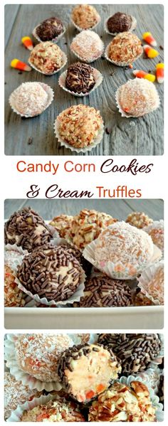 These Candy Corn Cookies and Cream Truffles are the perfect way to celebrate the season. Candy corn is not just for Trick or Treaters! #truffles #caketruffles #candycorndesserts