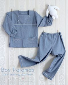 Draft your own sewing pattern for boy pajamas, from age 5 - 12 years old. With hidden button fly tutorial. Pattern is easily adaptable to make girl pajamas.