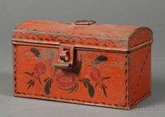 Red-painted Tinware Dome-top Trunk