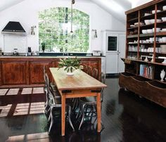 It's a kitchen that looks like a library - LOVE