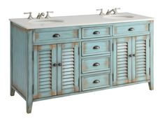 """Item Pre-order; shipping date Oct. 5th Dimensions: 60 x 22 x 34"""" H The plantation-inspired look of this cottage-style sink cabinet will add casual elegance to any bathroom decor. Shutter-style door wi"""