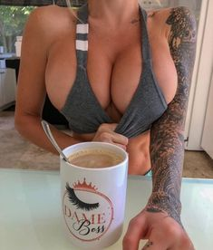 Pictures of females tugging on their clothing looking sexy Coffee Girl, Sexy Coffee, Voluptuous Women, Bigger Breast, Sexy Tattoos, Inked Girls, Bikini Girls, Hot Girls, Sexy Women