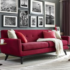 Features:  -Button tufted back.  -Conical shaped legs.  -Dense foam and cushions provide long lasting support and comfort.  -Handmade by skilled furniture craftsmen.  -Piped stitching.  -Removable sea
