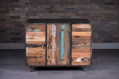 Three Door Sideboard Made of Metal and Recycled Wood from Old Fishing Boats