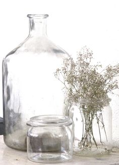 passionate for old jars and bottles for food storage...even home made salad dressing.