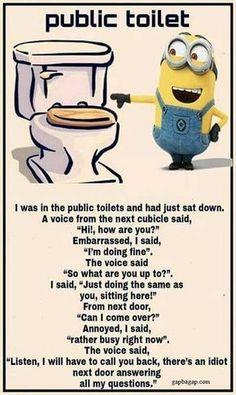 Funny Minion Meme About Public Toilet... - Funny, funny minion quotes, Meme, Minion, Public, Quotes, toilet - Minion-Quotes.com