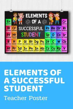 Elements of a Successful Student Teacher Poster One Direction Lockscreen, Teacher Posters, Board Decoration, School Bulletin Boards, Good Listener, Study Habits, Inspirational Posters, Student Teacher, Golf Humor