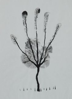 """Man's Hand Tree!"" black and white drawing by artist Al Safi available at Saatchi Art"