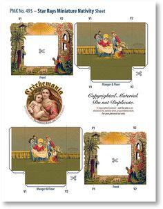 Four Miniature Nativities Collection Combo - PaperModelKiosk.com STAR RAYS MINIATURE NATIVITY SHEET