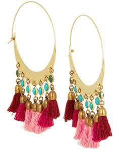 Créoles en plaqué or ornées de perles bleu à pompons rose et rouge, Isabel Maran